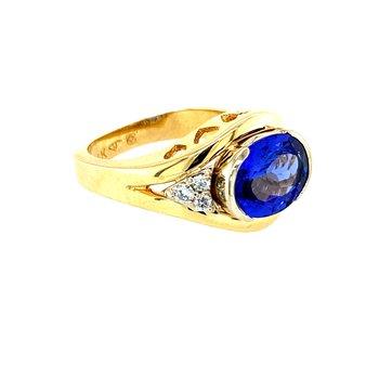 Tanznite & Diamond Ring