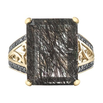 Tourmalinated Quartz & Black Diamond  Ring