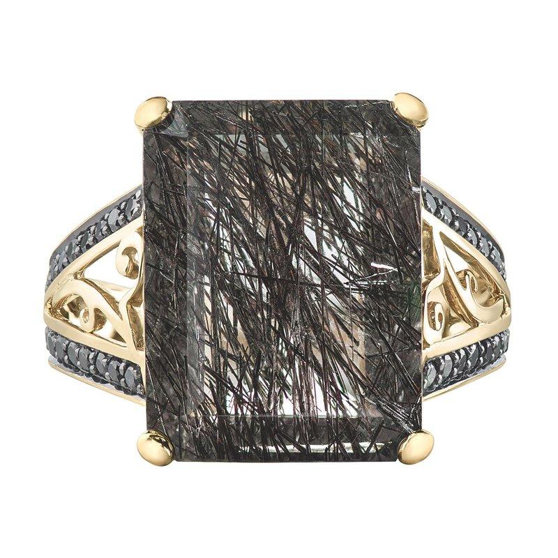 Ashley Tourmalinated Quartz & Black Diamond  Ring