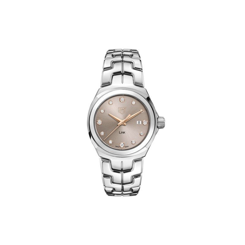 TAG Heuer Link - 32mm taupe sunray diamond dial, polished bracelet