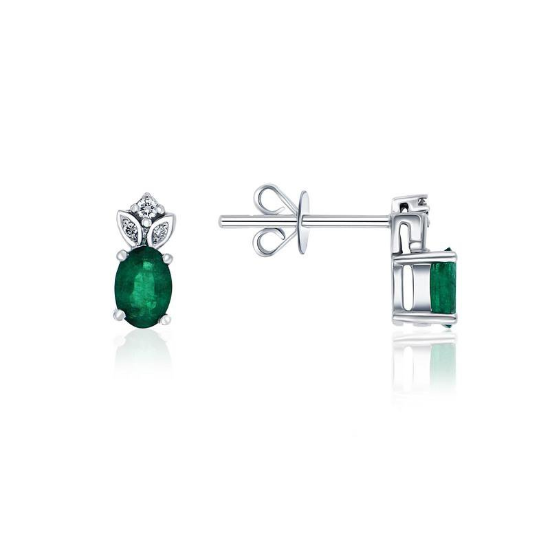 Ashley Emerald & Diamond Stud earrings