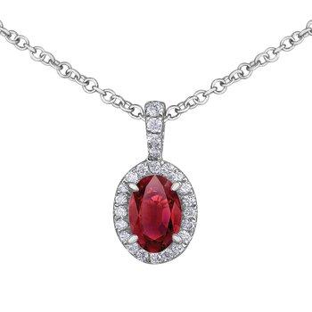 Diamond & Ruby Halo Necklace