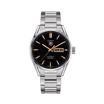 Carrera 41mm Calibre 5 automatic day-date watch Black dial, rose gold indexes, steel bracelet