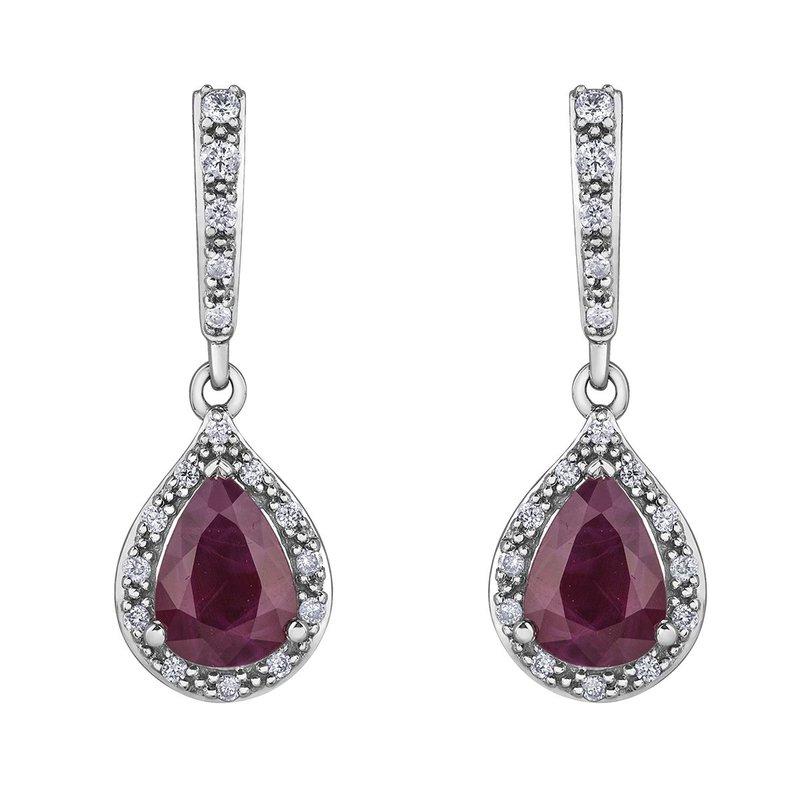Ashley Diamond and Ruby Drop Earrings