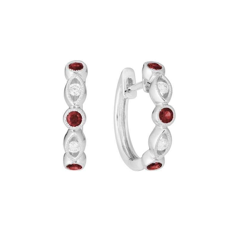 Ashley Huggie Ruby & Diamond Earrings