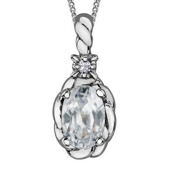 White Toapz & Diamond Necklace