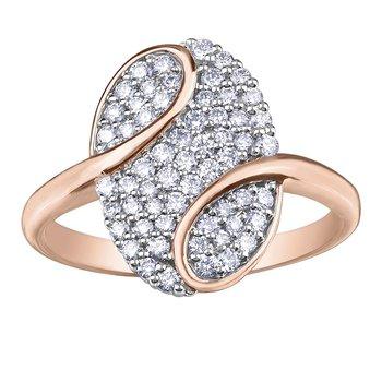 Diamond Set Rose Gold Fashion Ring