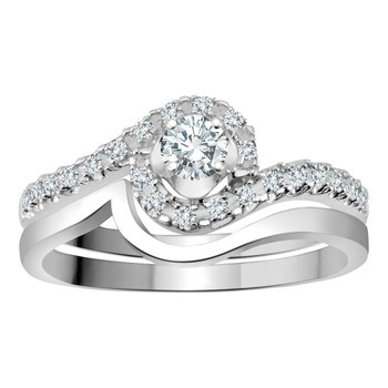 14k White Gold Twist Halo Diamond Engagement Ring