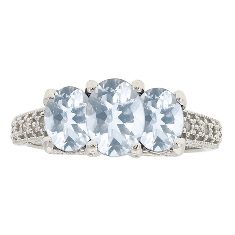 Ashley Aquamarine & Diamond Ring