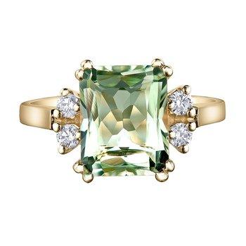 Ladies Green Amethyst & Diamond Ring