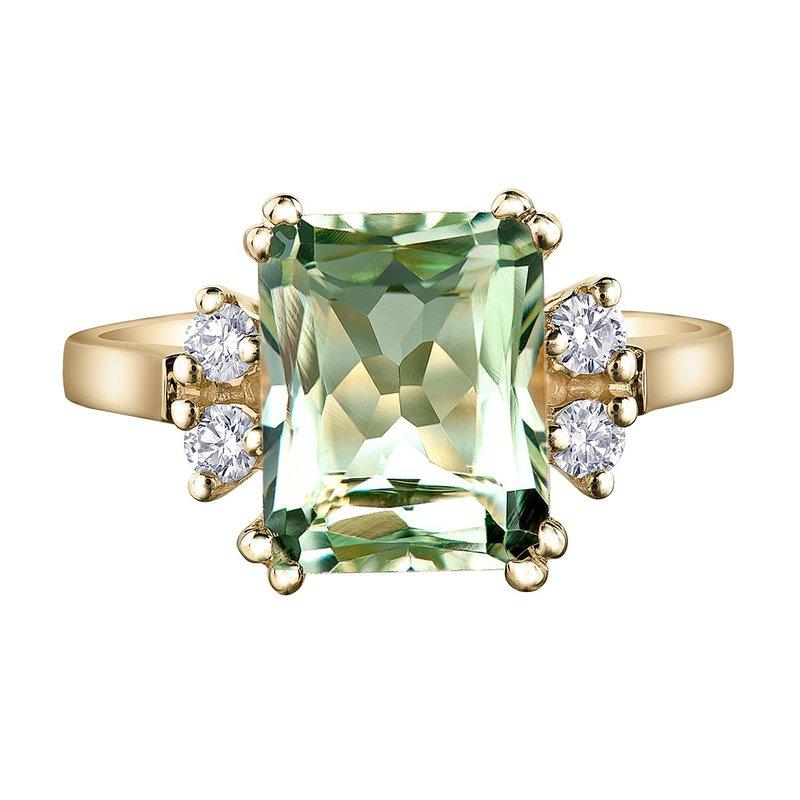 Ashley Ladies Green Amethyst & Diamond Ring