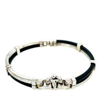 Men's Rubber & White Gold Bracelet