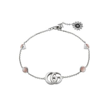 GG MARMONT BRACELET  YBA527393002 Bracelet with Double G and flower motif in sterling silver and pink mother of pearls