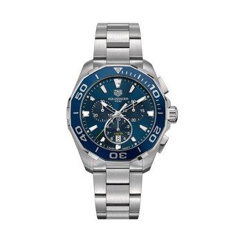 Aquaracer Quartz Chronograph 43mm Blue dial, blue aluminum bezel, bracelet