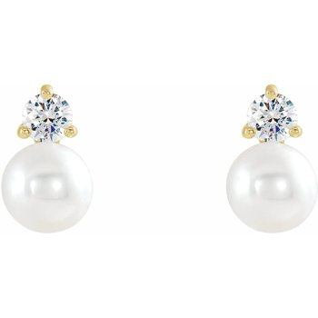 Pearl & Diamond Studs 7.5mm