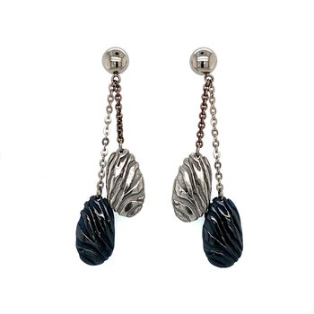 Black Titanium & Silver Earrings