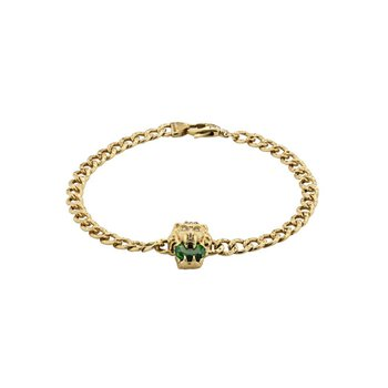 Lion head 18k bracelet with chrome diopside