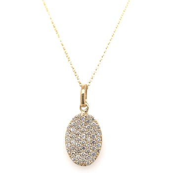 Pave diamond oval necklace