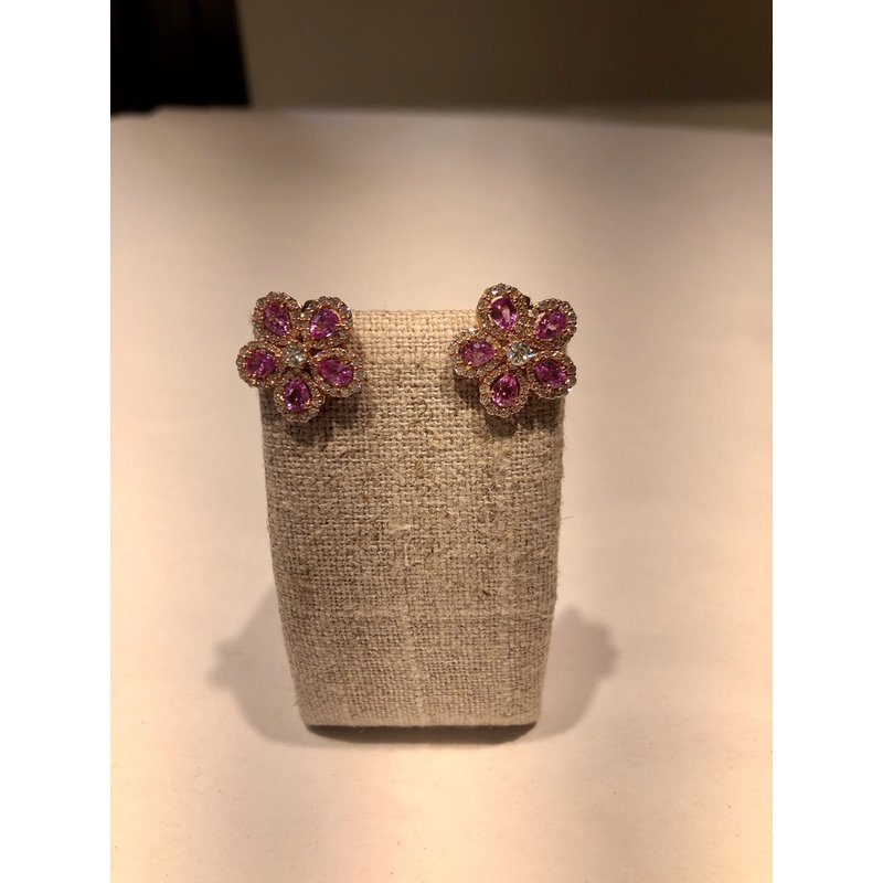 Hartgers Collection Pink Sapphire Flower Earrings