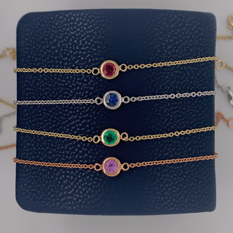 Colored stone bezel-set bracelets