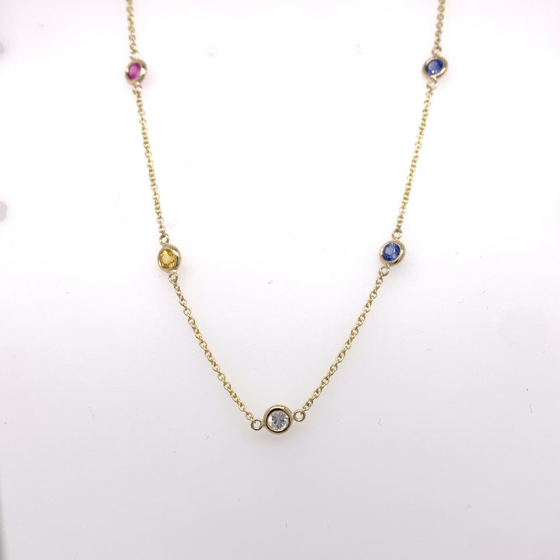 Colorful sapphire-by-the-yard necklace