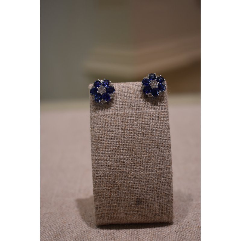 Hartgers Collection Sapphire & Diamond Cluster Earrings