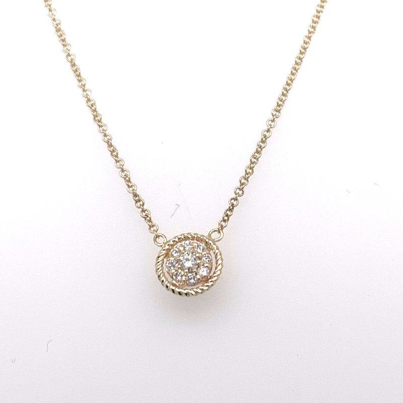 Holiday Collection Diamond cluster pendant with border