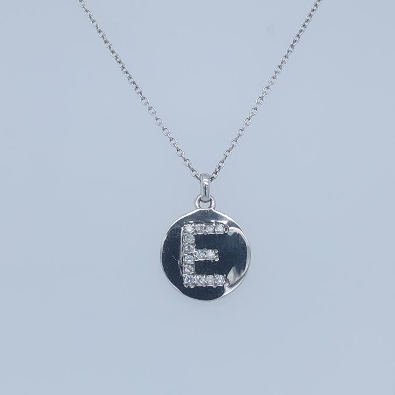 "Holiday Collection ""E"" Letter Diamond Initial Necklace"