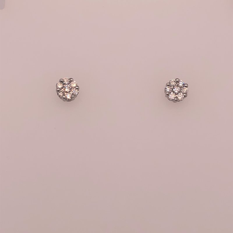 Diamond cluster earrings, 0.32 cts