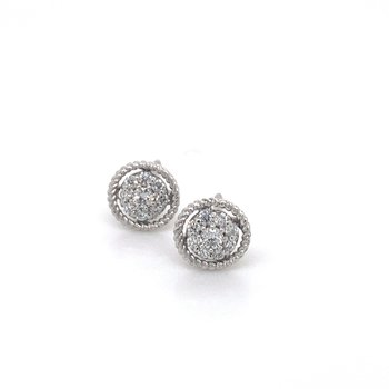 Diamond cluster earrings with white gold border