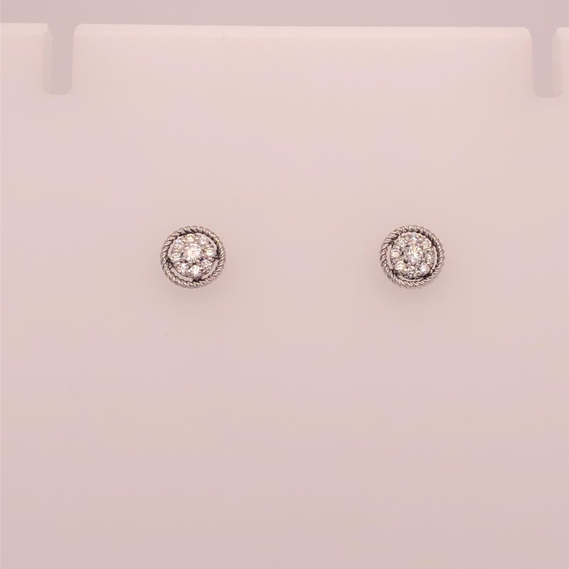 Holiday Collection Diamond cluster earrings with white gold border