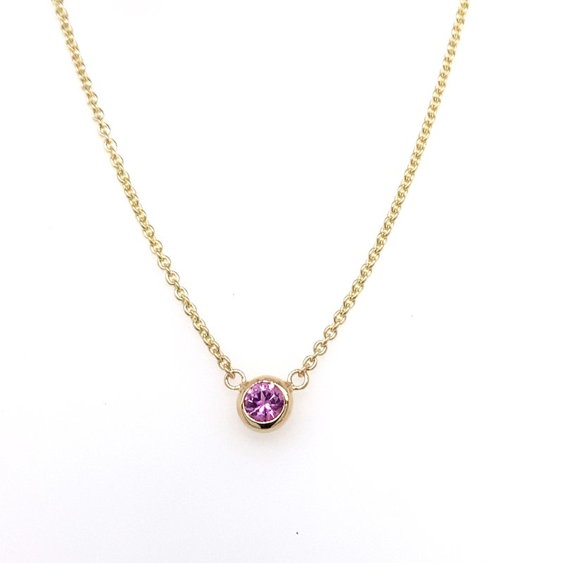 Holiday Collection Pink Sapphire bezel-set necklace
