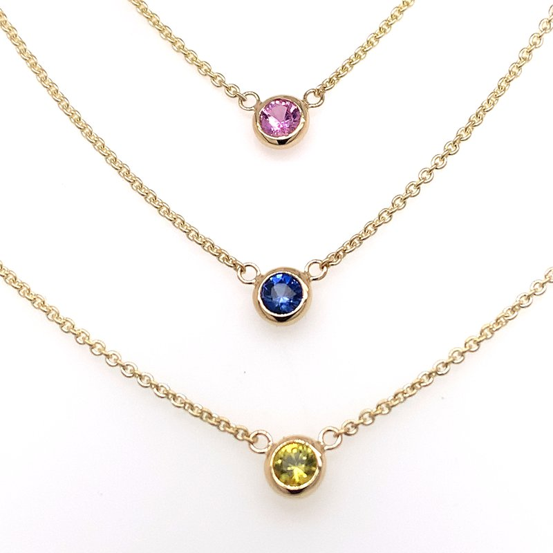 Pink Sapphire bezel-set necklace