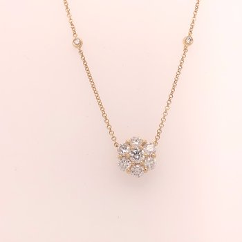 Yellow gold diamond flower necklace