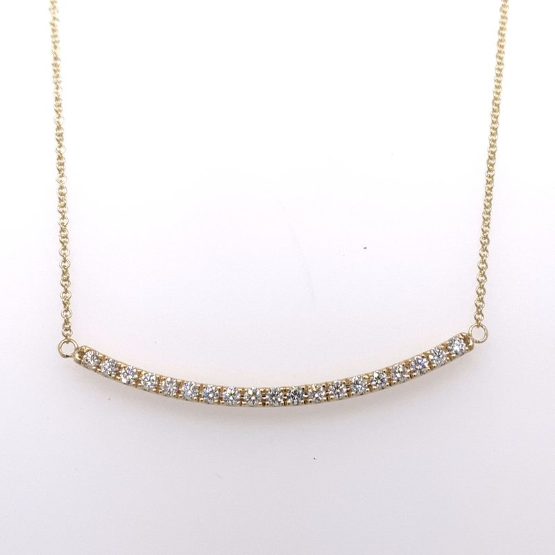 Holiday Collection Yellow gold diamond bar necklace