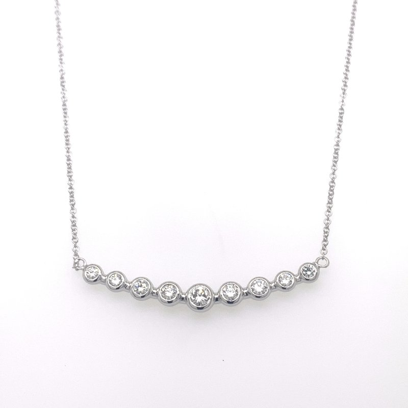 Bezel set diamond bar necklace