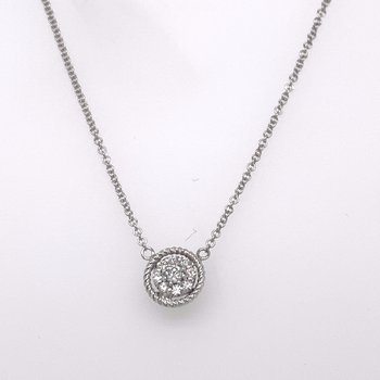 Diamond cluster pendant with white gold border