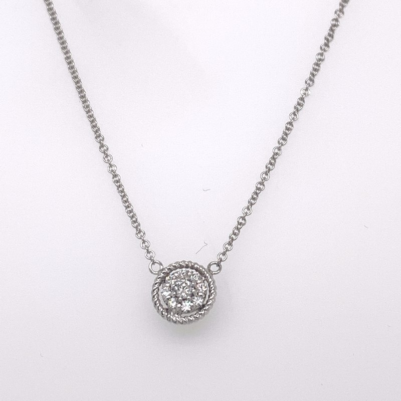 Holiday Collection Diamond cluster pendant with white gold border