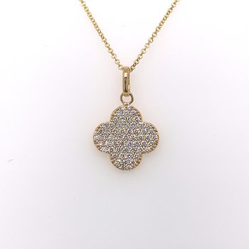 Pave diamond clover necklace