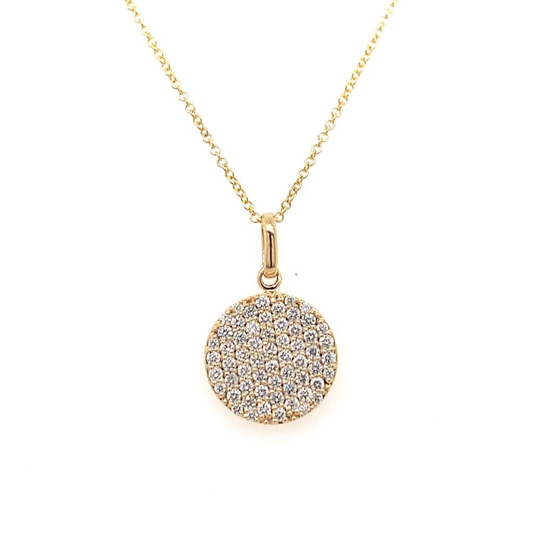 Holiday Collection Pave diamond round pendant necklace