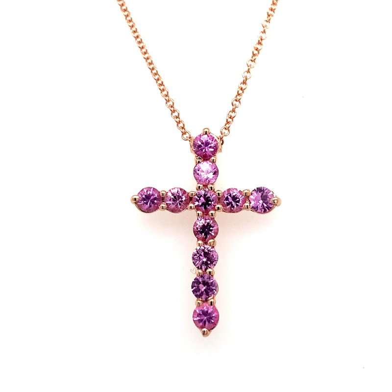 Holiday Collection Pink Sapphire Rose Gold Cross Necklace
