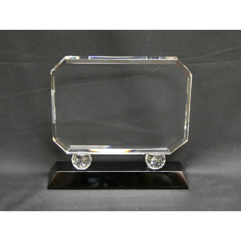 Plaques & Awards Rectangle Crystal on Black Base