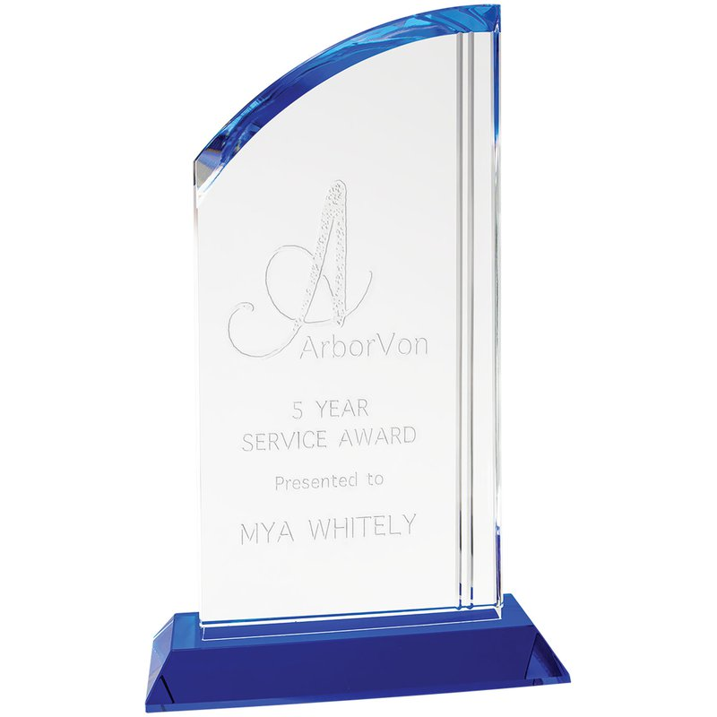 Plaques & Awards Crystal Arch with Blue Base