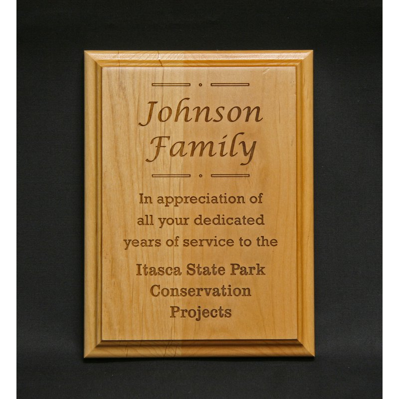 Plaques & Awards Red Alder Plaque with Wood Engraving