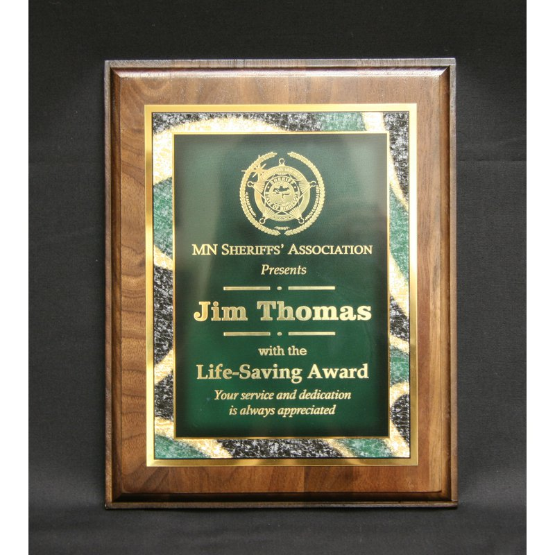 Plaques & Awards Walnut Plaque with Plate