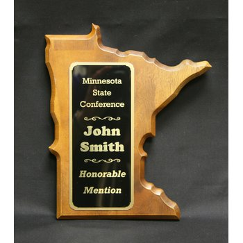 Minnesota Shaped Walnut Plaque