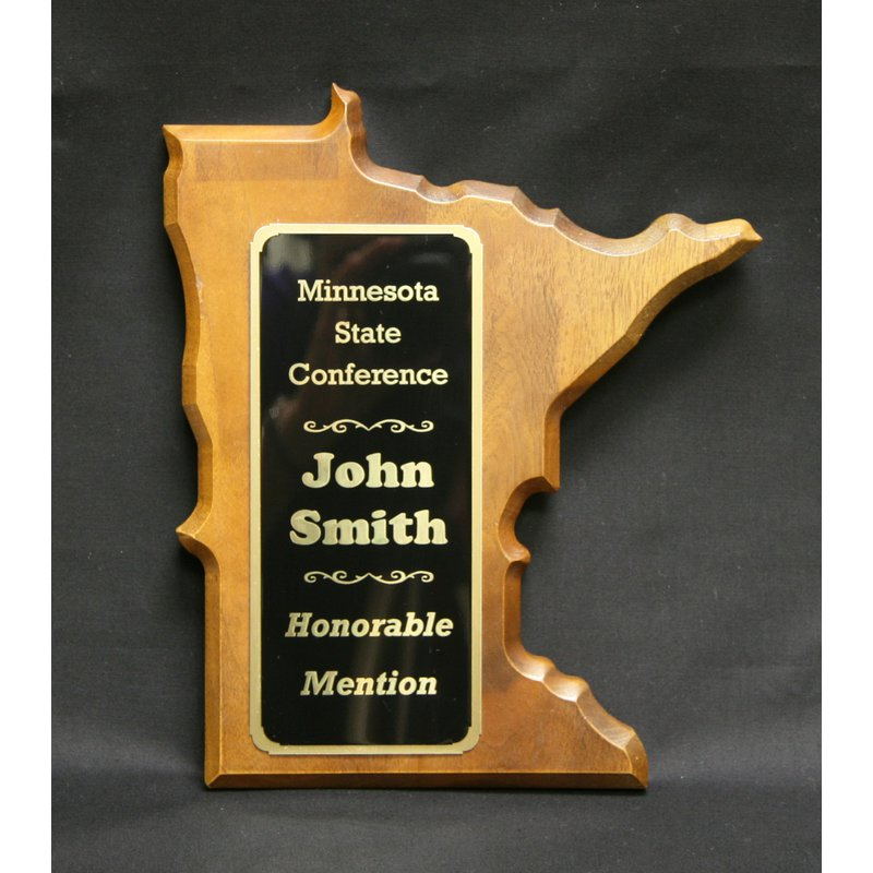 Plaques & Awards Minnesota Shaped Walnut Plaque