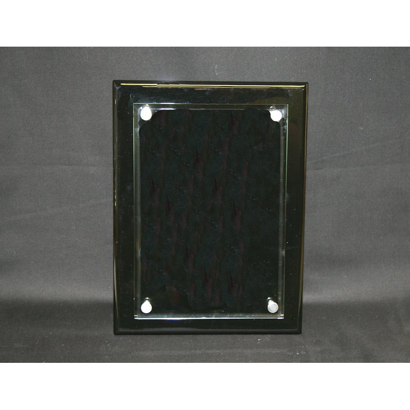 Plaques & Awards Black Piano Finish Floating Glass Plaque