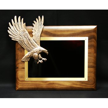Walnut Plaque with Soaring Bronze Eagle
