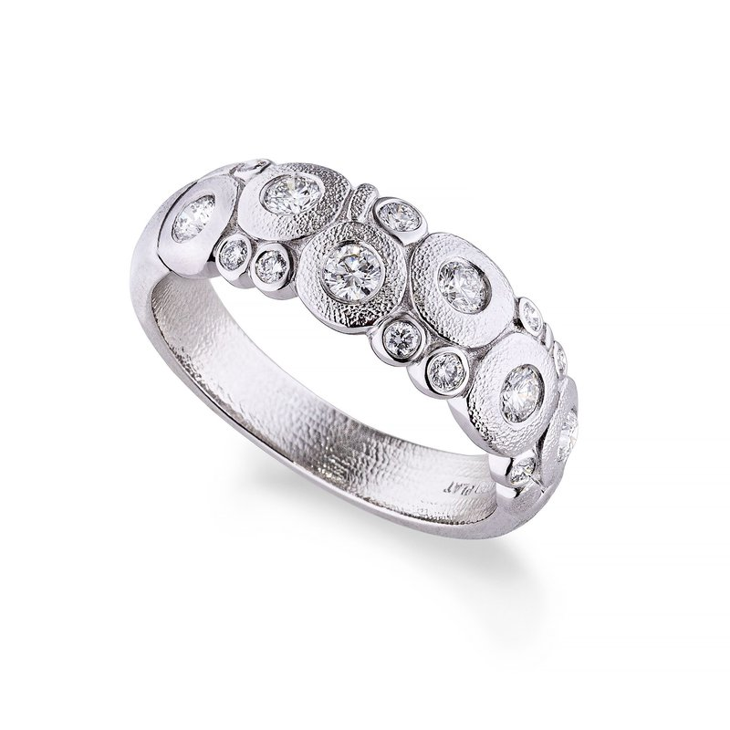 "Alex Šepkus ""Candy"" Dome Ring with Diamonds in Platinum"